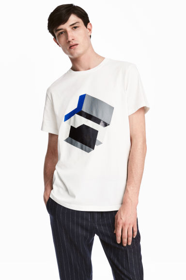 T-shirt with a print motif - White - Men | H&M 1