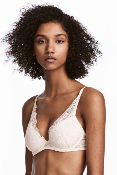 Lace push-up bra - Light beige -  | H&M IE