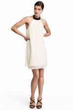 Chiffon halterneck dress - Natural white - Ladies | H&M 1