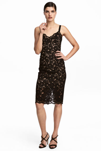 Fitted lace dress - Black -  | H&M