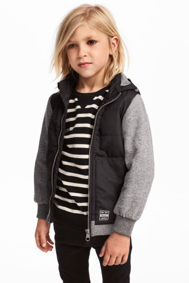 Lightly padded jacket - Black/Grey marl - Kids | H&M CN 1