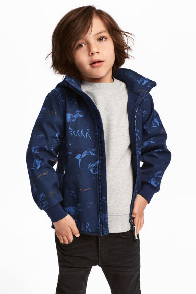 Softshell jacket - Dark blue/Dinosaurs - Kids | H&M CA 1
