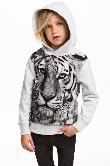 Hooded top with a print motif - Light grey -  | H&M 1