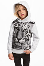 Printed Hooded Sweatshirt - Light gray -  | H&M CA 1