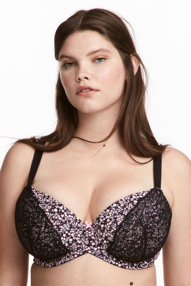 Padded underwired bra E/F cup - Black/Floral - Ladies | H&M