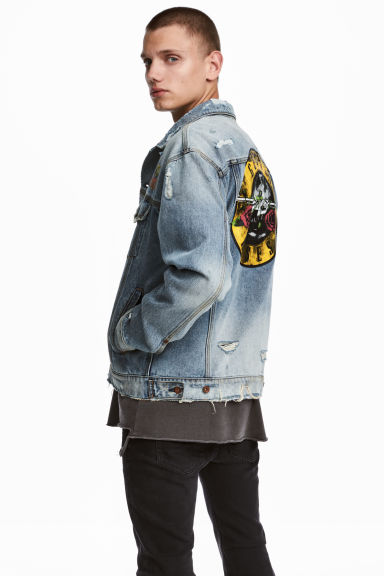 Printed denim jacket - Light denim blue/Trashed - Men | H&M CN