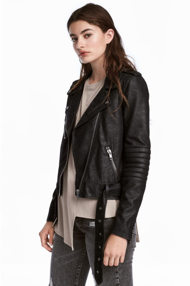 Biker jacket - Black/Textured - Ladies | H&M CN