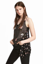 V-neck strappy top - Dark grey/Floral - Ladies | H&M 1