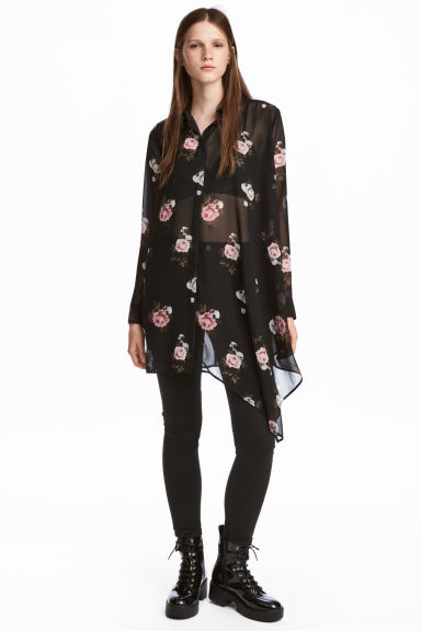 Chiffon shirt - Black/Floral - Ladies | H&M CN