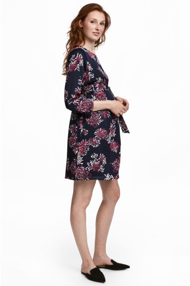 Patterned dress - Dark blue/Floral - Ladies | H&M CN 1