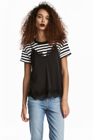 Satin strappy top - Black -  | H&M CN