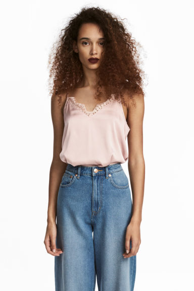 Satin strappy top - Light pink - Ladies | H&M CN