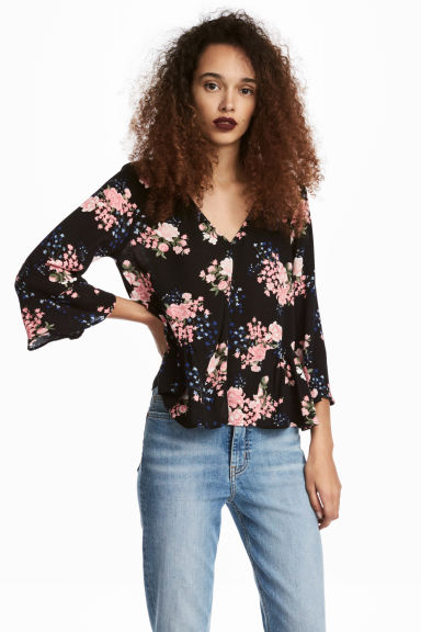 Blouse with flounces - Black/Floral - Ladies | H&M 1
