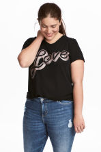 H&M+ Printed jersey top - Black/Love - Ladies | H&M 1