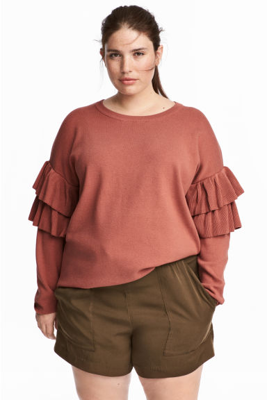 H&M+ Flounced knitted jumper - Rust red - Ladies | H&M 1