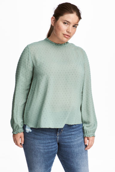 H&M+ Long-sleeved blouse - Green - Ladies | H&M GB