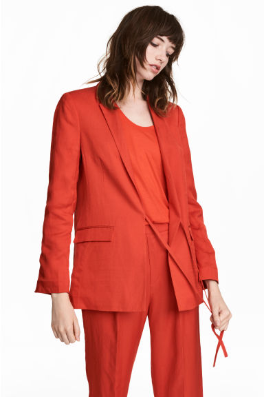 Linen-blend jacket - Red - Ladies | H&M 1