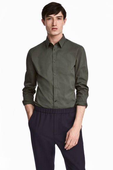 Stretch shirt Slim fit - Khaki green - Men | H&M