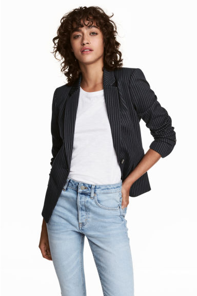 Single-breasted blazer - Donkerblauw/krijtstreepdessin - DAMES | H&M BE