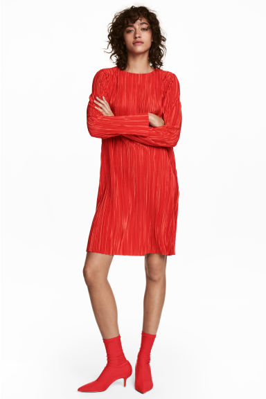 Pleated dress - Bright red - Ladies | H&M