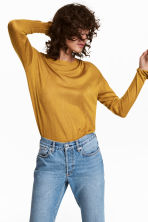 Fine-knit jumper - Mustard yellow - Ladies | H&M 1