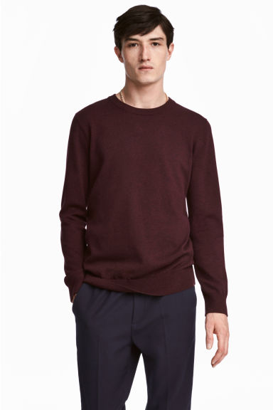 Fine-knit cotton jumper - Dark red - Men | H&M CA 1
