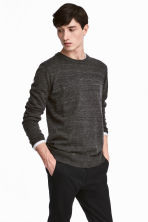 Fine-knit cotton jumper - Black marl - Men | H&M 1