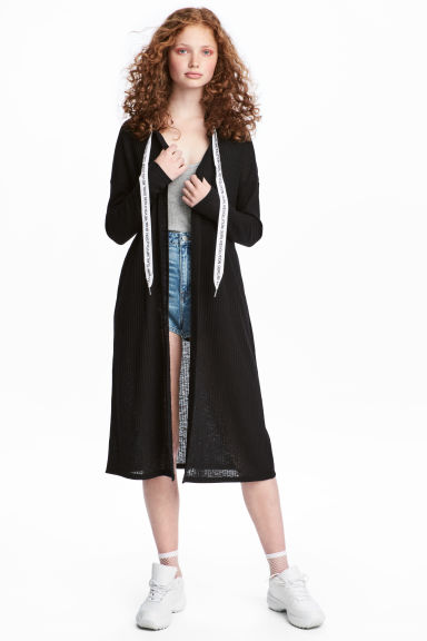 Ribbed hooded cardigan - Black - Ladies | H&M IE 1