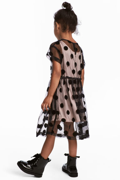 Short-sleeved tulle dress - Black/dotted -  | H&M CA 1