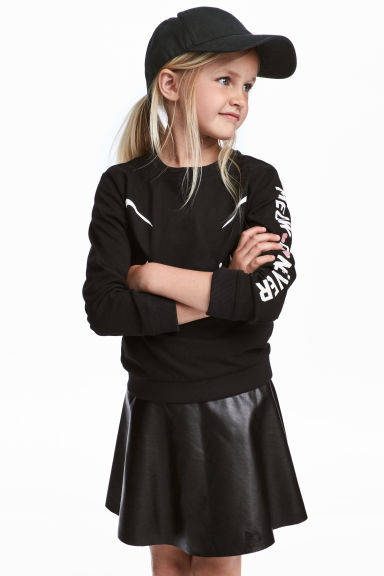 Printed sweatshirt - Black/Cat - Kids | H&M CN 1