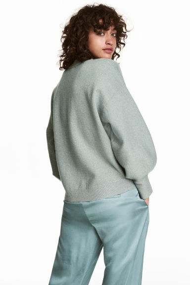 Fine-knit jumper - Dusky green/Glittery - Ladies | H&M 1