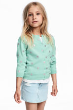 Cotton cardigan - Light green/Spotted - Kids | H&M CN 1
