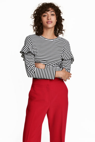 Jersey top with flounces - Black/White striped - Ladies | H&M