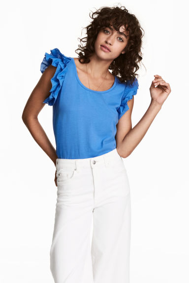 Top with flounced sleeves - Blue - Ladies | H&M