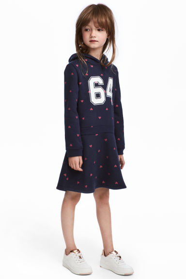 Sweatshirt dress - Dark blue/Hearts - Kids | H&M 1