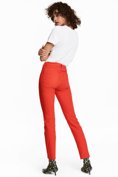 Ankle-length stretch trousers - Red -  | H&M