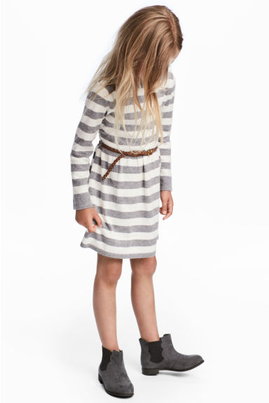 Fine-knit dress - Light grey/Striped -  | H&M CN 1