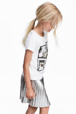 Printed jersey top - White/Animal -  | H&M CN 1
