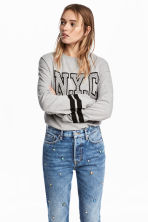 Printed sweatshirt - Light grey - Ladies | H&M 1