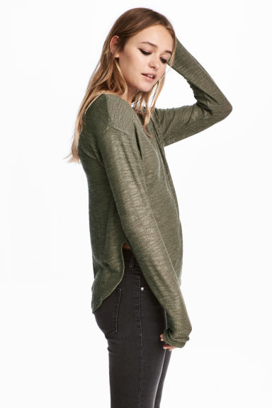 Knit Sweater - Khaki green - Ladies | H&M CA 1
