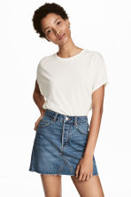 Top with cap sleeves - Natural white - Ladies | H&M 1