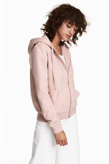 Hooded jacket - Light pink marl -  | H&M