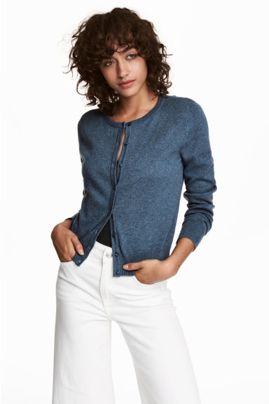 Cotton cardigan - Blue marl - Ladies | H&M CN