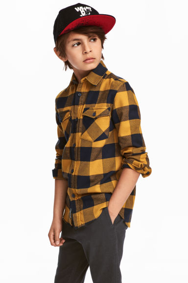 Flannel shirt - Mustard yellow/Checked - Kids | H&M CN 1