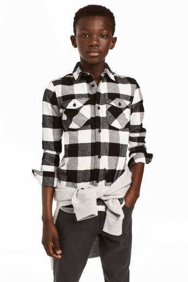 法蘭絨襯衫 - Black/White checked - Kids | H&M 1