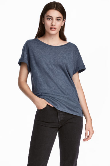 Long T-shirt - Dark blue melange - Ladies | H&M CA 1
