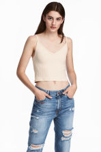 Jersey crop top - Beige - Ladies | H&M 1