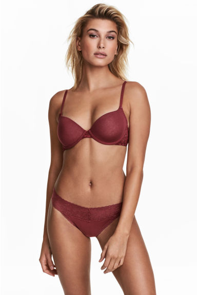 Thong in cotone, 3 pz - Bordeaux - DONNA | H&M IT 1