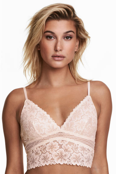 Mesh and lace bralette - Powder beige - Ladies | H&M IE 1