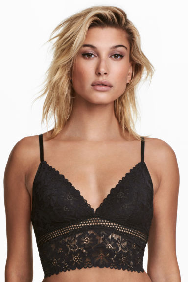 Mesh and lace bralette - Black - Ladies | H&M CN